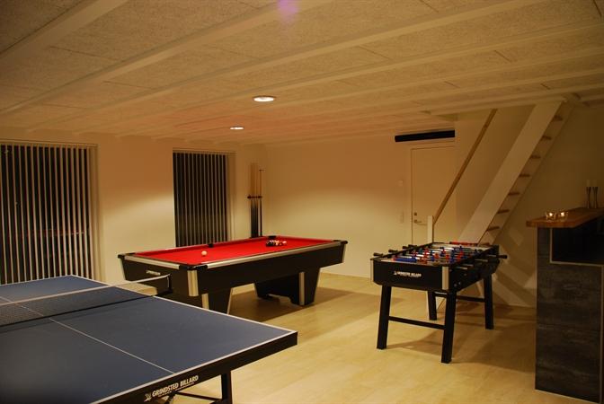 Activity room with brick laid bar